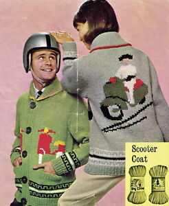 Vintage knitting Pattern-instructions-how to make a 1960s mod scooter jacket