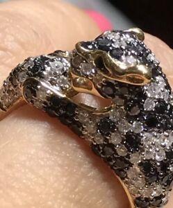 14k Ring Yellow Panther Tiger Jaguar Natural Diamond Clear Black 1.80 Carat