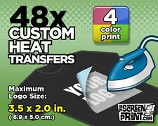 48 Custom Plastisol Heat Transfers Iron-On (4 color) MAX Logo Size 3.5 x 2.0 in.