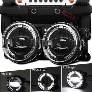 4inch Round LED Fog Lights Halo Driving Lamp For Jeep Wrangler JK Dodge Chrysler