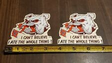 Mississippi State University Bulldogs vintage Decal Stickers x2 eating UM Rebel