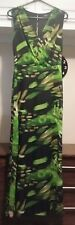 Ladies Full Length Fully Lined Maxi Dress. Size 12. Green / Black.
