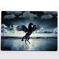 Black Horse With Wings Beach Sea Animal Fly Cloud 60 Pieces MDF Jigsaw Puzzle