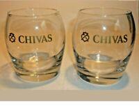 Chivas Regal Round Molded Swirl Glasses Gold Logo Set of 2...VERY NICE