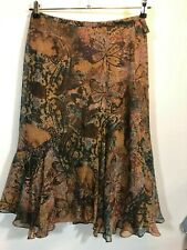 Coldwater Creek Skirt Small Silk Floral Brown