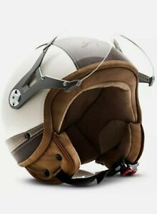 Soxon NTNK N325 Urban Crème Leather Motorcycle Helmet Scooter Small