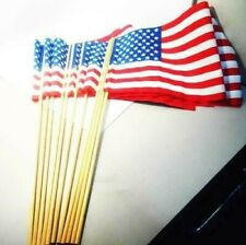 """Lot of 12 -18in x 12in Us American Flags on 30"""" Stick"""