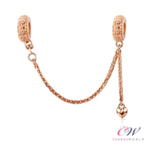 Rose Gold Safety Chain Genuine 925 Sterling Silver For Charm Bracelet 💞
