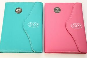 2022 PADDED A6 OR A5 'DAY A PAGE' DIARY & PLANNER WITH PEN & MAGNETIC PRESS STUD