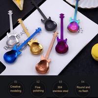 Stainless Steel Rainbow Guitar Shape Coffee Mixing Spoon Flatware Tea Soup Spoon