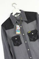 NEW MEN'S WRANGLER by PETER MAX WESTERN  DENIM SHIRT GREY MIX DRY RETRO S/M/L/XL