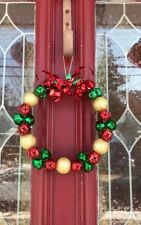JINGLE BELL WREATH RED GREEN GOLD CHRISTMAS ORNAMENT RIBBON GIFT SPRAY