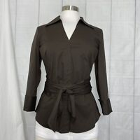 Ann Taylor Womens 4 Small Top NEW $68 Brown Tie Front Button 3/4 Sleeve #K