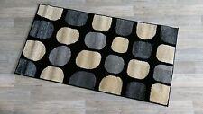 Shaggy Teppich Istanbul Hochflor 11mm Teppich 80x150 cm schwarz grau gelb punkte