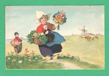VINTAGE MEISSNER & BUCH FRITZ BAUMGARTEN ART POSTCARD DUTCH GIRL DOLL FLOWERS