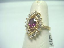 14k yellow gold Diamond and ruby classic cocktail ring for lady
