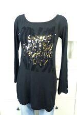 NOLITA Longsleeve Langarm Shirt Pailletten Schwarz Gold Gr. IT 40 DE 34 (DG79)