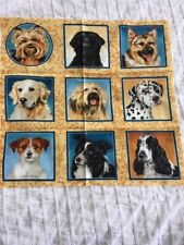 "Dog Squares Makower Patchwork Quilting Fabric 9 Different Breeds 3"" Squares"