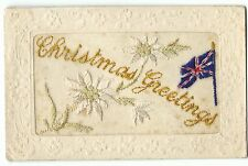 WW1 Silk Embroidered PC, Christmas Greetings, Patriotic, Union Jack