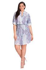 MYNT1792 Plus Size Shirt Dress in Cool Neon Snake 1X