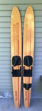 Vintage Wood Riptide Omega 100 Water Skis Rip Tide Made In Usa; Nice!