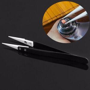 Stainless Steel Ceramic Tweezer Tipped Pointed Tip Heat Tool Plastic Handle BU