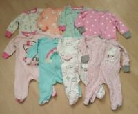 Lot Of 8 Gerber Baby Girls One Piece Pajamas-Size 0-3 Month-Long Sleeves