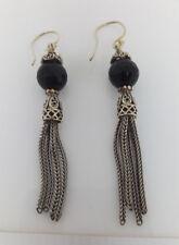 Sterling Silver Black Onyx Bead Tassell Drop/Dangle Earring