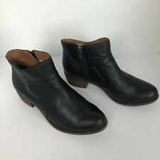 Lucky Brand Brolley black  Leather Ankle Booties Women's Shoe Size 9 wide