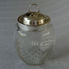 Antique Glass Sugar Bowl With Sterling Silver Lid and Collar c1907