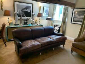 George Smith distressed brown leather fixed back standard arm 3 seater sofa