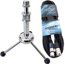 KEEPDRUM MS055 Tisch-Stativ Tripod Dreibein Mikrofonständer+6m XLR Mikrofonkabel