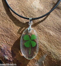 REAL LUCKY FOUR LEAF CLOVER RESIN PENDANT WITH CORD Wicca Witch Pagan Goth  LUCK