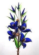 Dark Blue Elegant Crystal Glass Flowers Ornament Unique Handmade Decoration Gift
