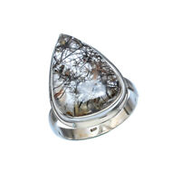 BLACK RUTILE NATURAL GEMSTONE 925 SOLID STERLING SILVER JEWELRY RING 9