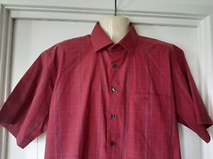 Mens Crocodile Casual Shirt, Red, Short Sleeves, Size XL, Cotton