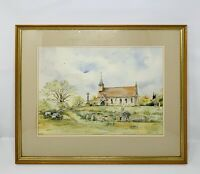 ORIGINAL WATERCOLOUR PAINTING CHURCH YARD FARM SHEEP SIGNED ARTIST UNIQUE GIFT