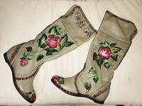 Boots STIEFEL 41 unikat designer overknee Echt Leder Blumen Flower Shabby Chic