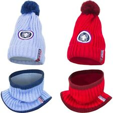 Marvel Spider-Man 2 Piece Knitted Winter Set Beanie Hat and Snood 2-13 Blue Red