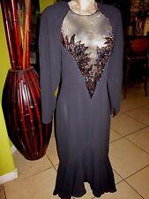 WOW! Lillie Rubin>BLACK WICKED! 60's Style Dress>Size 12>Beading>Open Back>Ruffl