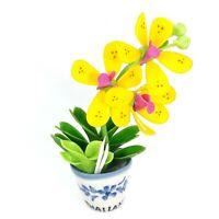 3D Souvenir Purple Yellow Orchid Flower Pot Thailand Adjustable Fridge Magnet