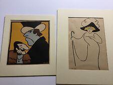 Two Original Alfred Frueh Linoleum Cut Theater Caricatures