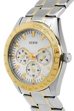 NEW GUESS CHASE 2 TWO TONE GOLD SS SILVER BRACELET LADY WATCH U12004L1 DAY DATE