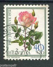 SUISSE 1972, timbre 917, FLEURS, ROSES, FLORE, FLOWERS, oblitéré