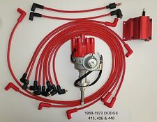 DODGE 440 1959-72 RED Small Female Cap HEI Distributor, Coil, Spark Plug Wires