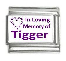 Italian Charms Custom Made In Loving Memory of Cat Name Purple