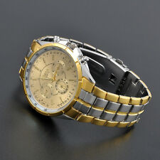 Trendy Men's Luxury Date Gold Dial Stainless Steel Analog Quartz Wrist Watches I