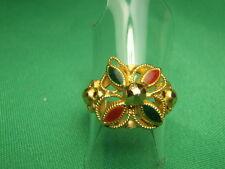 Estate 22k SOLID Gold Enamel Flower Ring 3.2 Grams Size 6 1/2 Lot 587