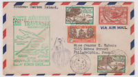 LETTRE AERIENNE TRAVERSEE NOUVELLE CALEDONIE USA NOUMEA CANTON ISLAND 1940