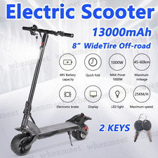 1000w Electric Scooter 48v Turbo Black LED Light Adults off Road Wide Tyre 13000